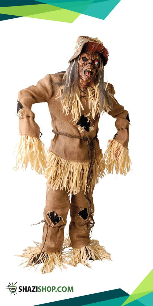 the adult mega scarecrow halloween costume includes a hessian sack effect shirt with rope belt patch detail and attached fake straw a matching pair of