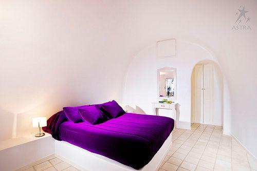 Built-Bed-Purple-White-Hotel-Bedroom-Dome-Santorini-Island