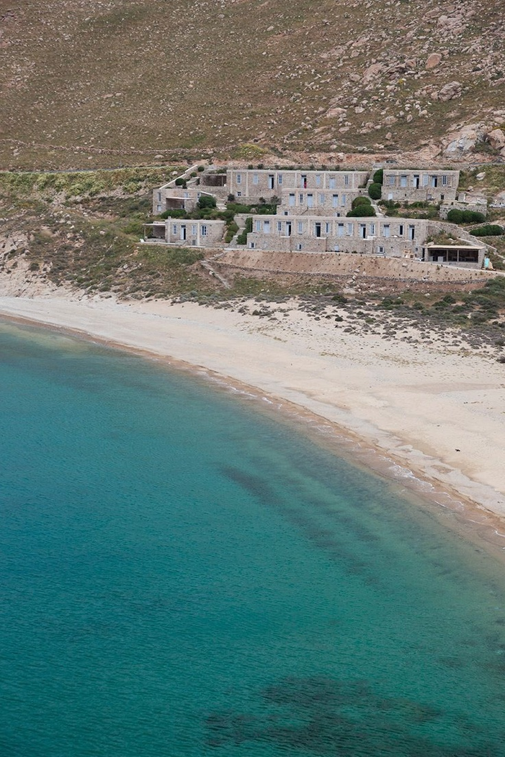 The Coco-Mat Eco Residences, situated above the wide sandy 'Vagia' Beach in Serifos, Cyclades Islands, Greece.