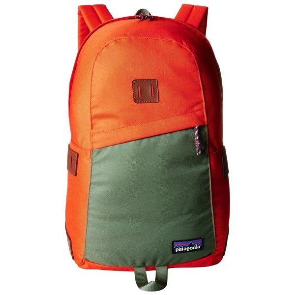 Patagonia Ironwood Pack 20L (Monarch Orange) Backpack Bags (46 CAD) ❤ liked on Polyvore featuring bags, backpacks, orange, green backpack, zip bag, patagonia, logo backpacks and strap bag
