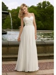 Chiffon Sweetheart Beaded Bodice Column Wedding Dress