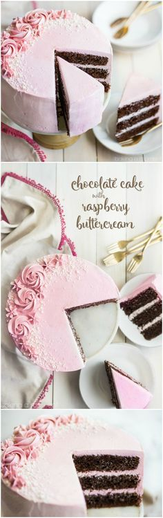 """LOVED this moist and fluffy chocolate cake, and the raspberry buttercream was so light and fresh! Perfect party cake :)"""