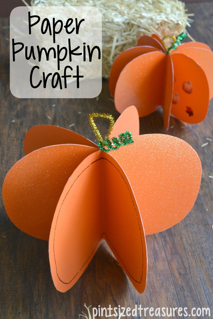 easy paper pumpkin craft - Halloween Arts And Crafts For Kids Pinterest