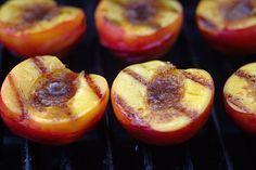 Grilled Peaches with Brown sugar & Cinnamon Glaze a la Mode... Yum!