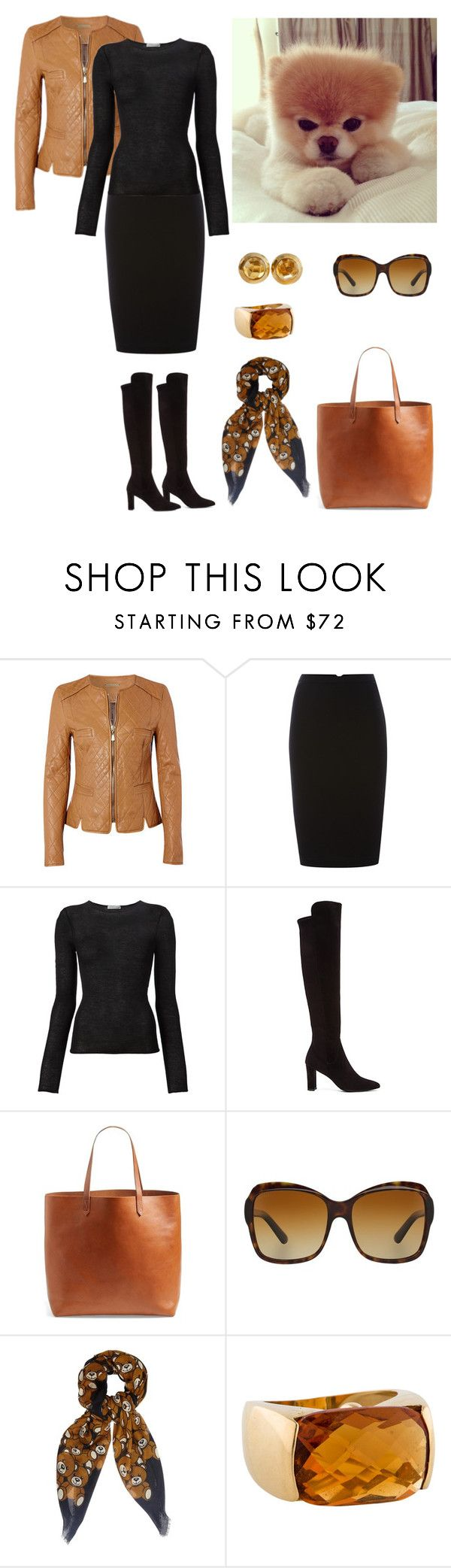 """""""Amber meets Black"""" by dezaval ❤ liked on Polyvore featuring Richards Radcliffe, Pied a Terre, Denis Colomb, Stuart Weitzman, Madewell, Bulgari, Moschino and Pomellato"""