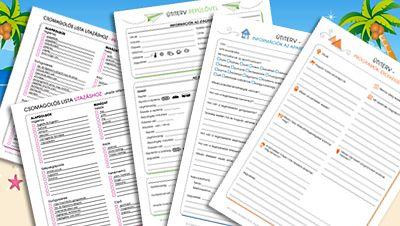 Letölthető és nyomtatható listák utazáshoz: csomagolós lista, útiterv repülős úthoz, útiterv apartmanos nyaraláshoz, programok.