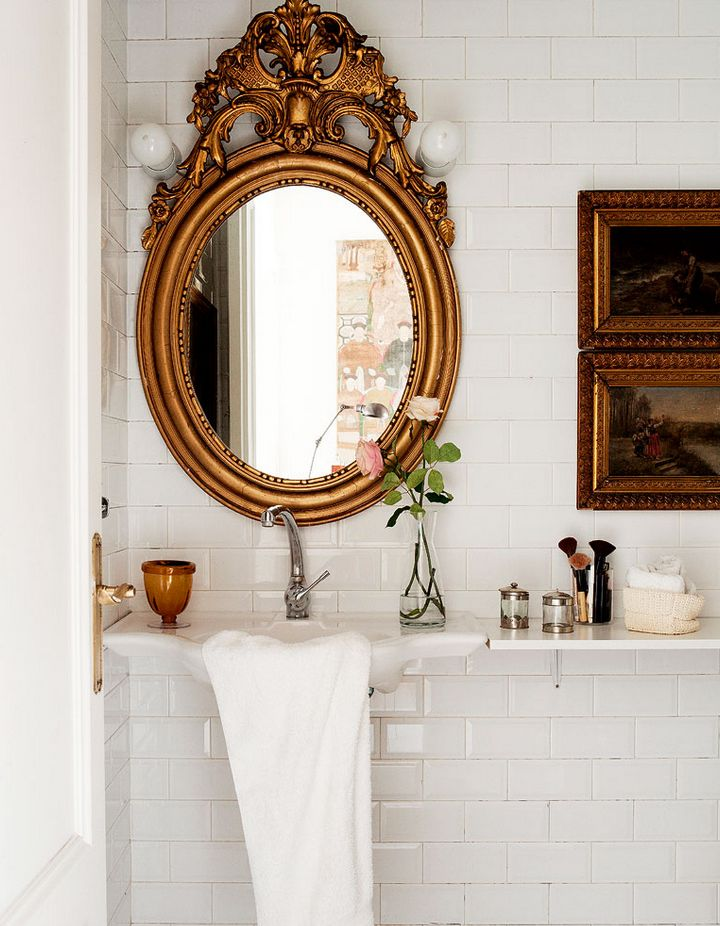 Home In Barcelona Bathroom Ornate MirrorGold