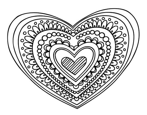 Dibujo de Mandala corazón para colorear