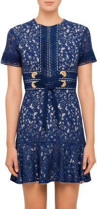 Blue lace mini dress with tie waist detail - Lover FLORA MINI FLIP DRESS