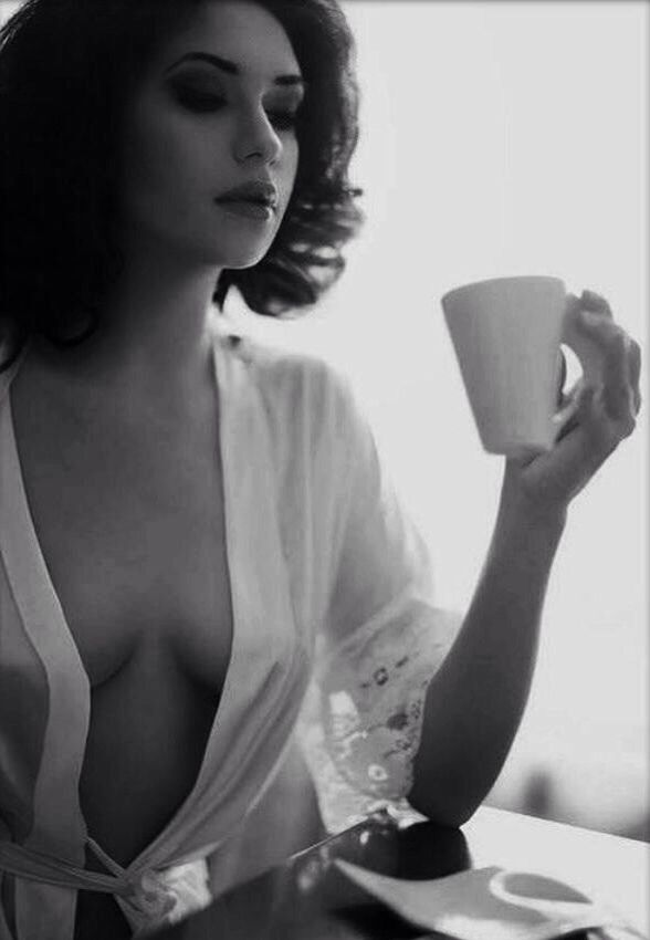 Agree, rather naked woman drinking morning coffee