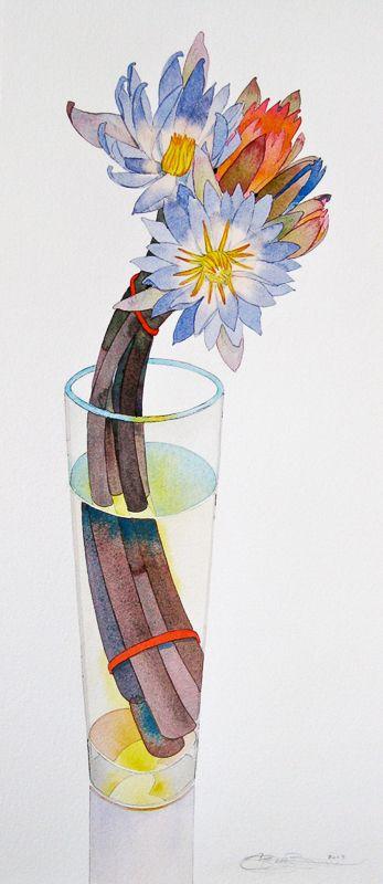 Gary Bukovnik - Galerie Thomas Reynolds - San Francisco - Nénuphars - 29 po x 12,5 po