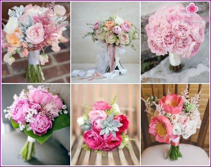 Flower tilbehør bruden med rosa peoner