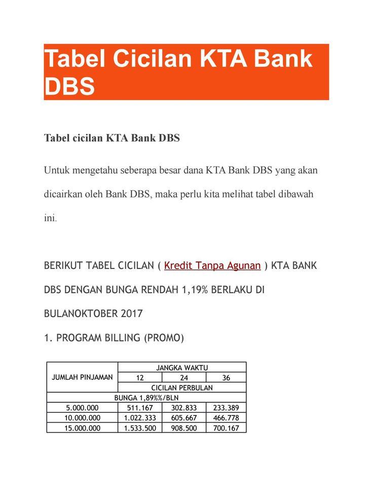 Tabel Cicilan Kta Bank Dbs