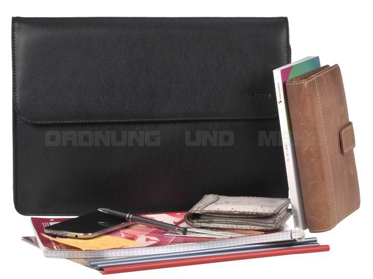 Esquire BUSINESS ACC - Leder Collegemappe Unterarmatasche Aktenmappe - schwarz 6514-90-00
