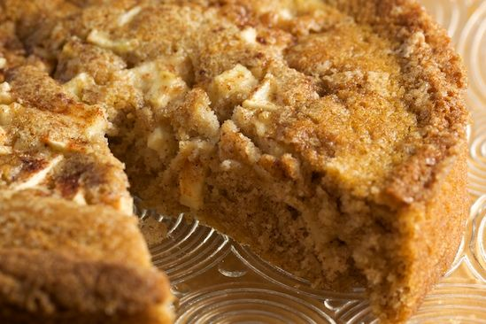 Apple Cinnamon Buttermilk Cake      1 cup all-purpose flour  1/2 teaspoon baking powder  1/2 teaspoon cinnamon  1/2 teaspoon baking soda  1/4 teaspoon salt  4 tablespoons unsalted butter (1/2 stick), at room temperature  2/3 cup sugar  1 teaspoon vanilla extract  1 large egg  1/2 cup buttermilk  1 cup peeled and chopped baking apple (I used granny smith)  heaping tablespoon of raw sugar (demerara, turbinado or Sugar in the Raw)  extra cinnamon for sprinkling    1. Preheat ove