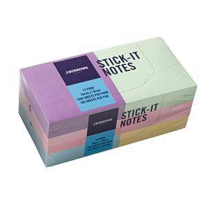 J.Burrows Stick-It Notes 76 x 76mm Pastel 12 Pack