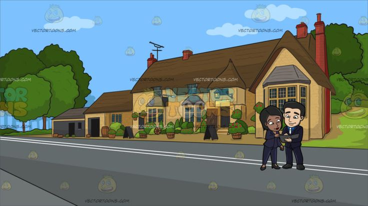 Two Employees Going Over Meeting Notes At A Countryside Pub :  A black (African American) woman wearing a midnight blue pantsuit and black heels leans to her left to read from the black envelope that is being held by a man with black hair wearing a black suit blue dress shirt and white necktie guy holding a black envelope in his left hand. Set in a house along a quiet road with yellowish beige walls brown roofing and red chimneys television antenna plants and flowers in pots surrounding the…