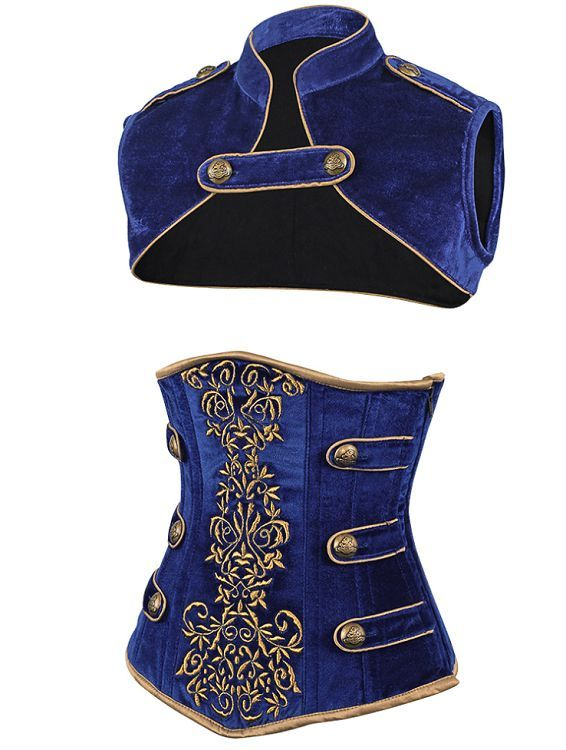 I'm not a huge fan of corsets, but I DO love the little military-jacket shrug/capelet thing