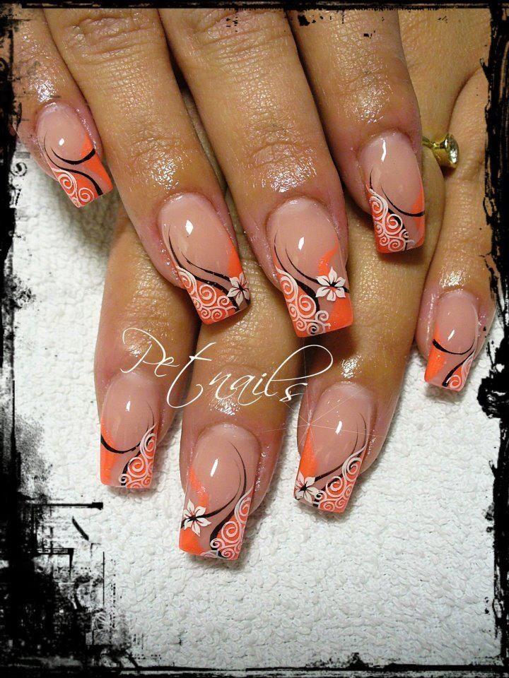Orange design w/flowers