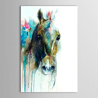 Hand Painted Oil Painting Animal Abstract Horse Head with Stretched Frame Ready to Hang - USD $ 69.99