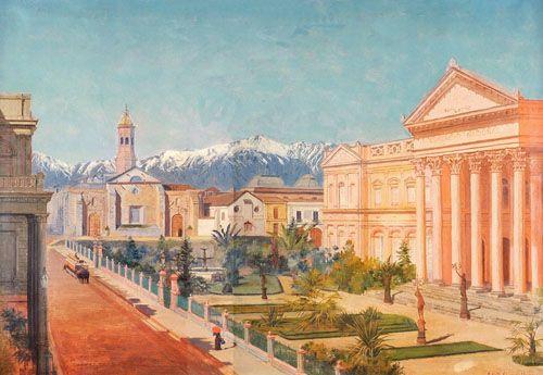 CONGRESO NACIONAL,  Óleo sobre tela 97 x 66 cm  Senado de Chile, Chile
