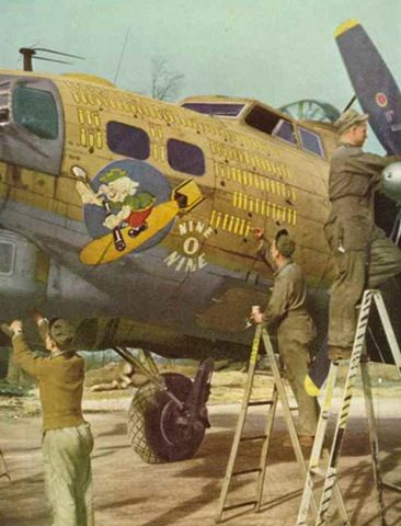 The Nine-O-Nine, a B-17 Flying Fortress heavy bomber of the 323rd Bomb Squadron, 91st Bomb Group, completed 140 combat missions during World War II, believed to be the Eighth Air Force record for most missions, and never lost a crewman as a casualty. B-17G-85-DL, 44-83575, civil register N93012, owned and flown by The Collings Foundation, Stow, Massachusetts, currently appears at airshows marked as the historic Nine-O-Nine.
