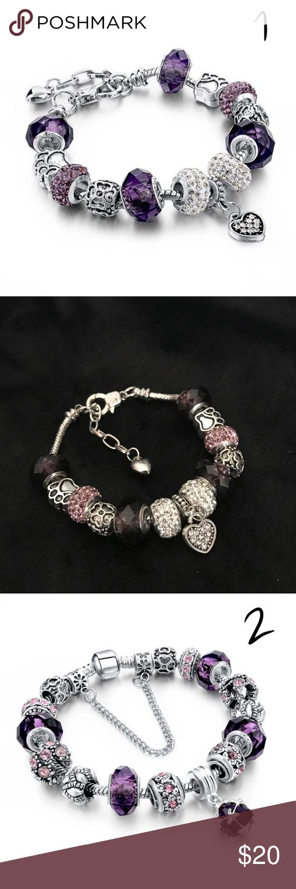 """1 Silver Plated Charm Bracelets Pink/ Purple Brand new Price firm  1) Purple Colored Charm Bracelet, 2) Pink Colored Charm Bracelet, 3) Pink&Purple Colored Charm Bracelet  Alloy Metal Silver Plated Austrian Crystals Length: 8"""" adjustable Comes in velvet pouch  #2 Bracelet has pink charms not purple like in stock photo, and #3 bracelet has pink with purple charms like in pictures i have taken. Jewelry Bracelets"""
