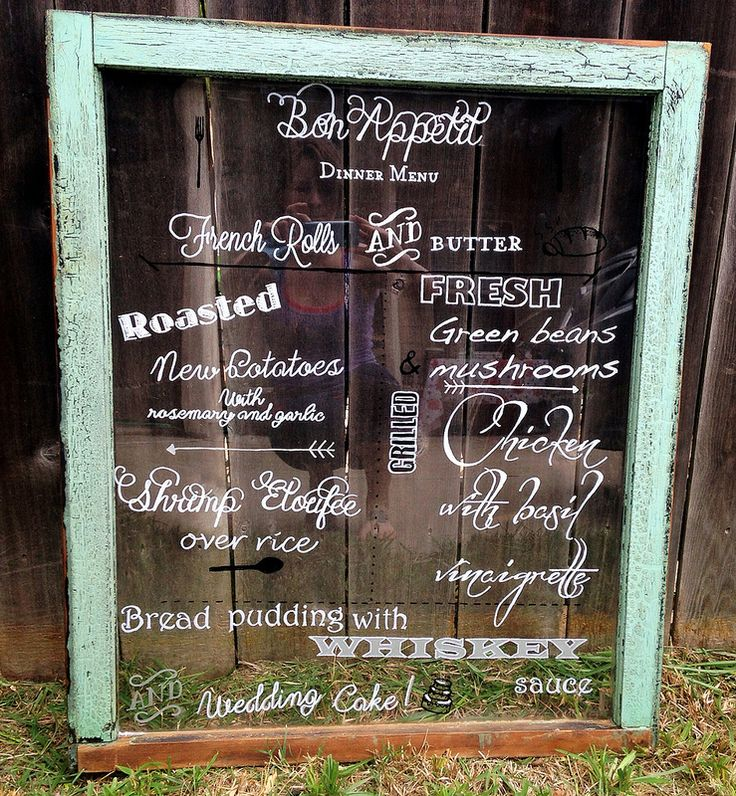 How to make an antique window wedding menu display this would be neat, since we have all the old wooden windows from our house