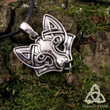 bijou collier pendentif louernos renard goupil celtique tribal homme noeud argenté cordon noir médiéval païen druide wicca mariage elfique sabbat cadeau viking guerrier mixte magie