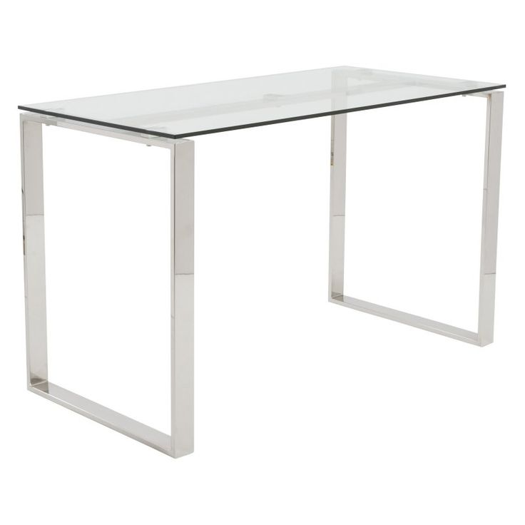 Euro Style Diego Glass Desk Clear Top / Polished Stainless Steel Base - 09811CLR