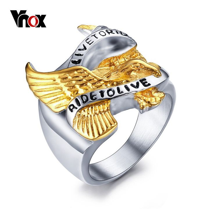 "Men Ring Eagle ""LIVE TO RIDE,RIDE TO LIVE"" Engraved"