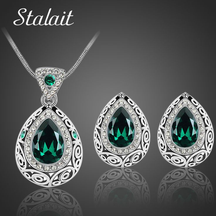 Bridal Wedding Jewelry Sets Classic Indian Antique Silver Color Water Drop Crystal Rhinestone Earrings Necklaces jewelery Set #Indian fashion
