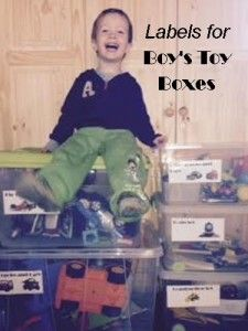 Labels for Boy's Toy Boxes - One Step At a Time