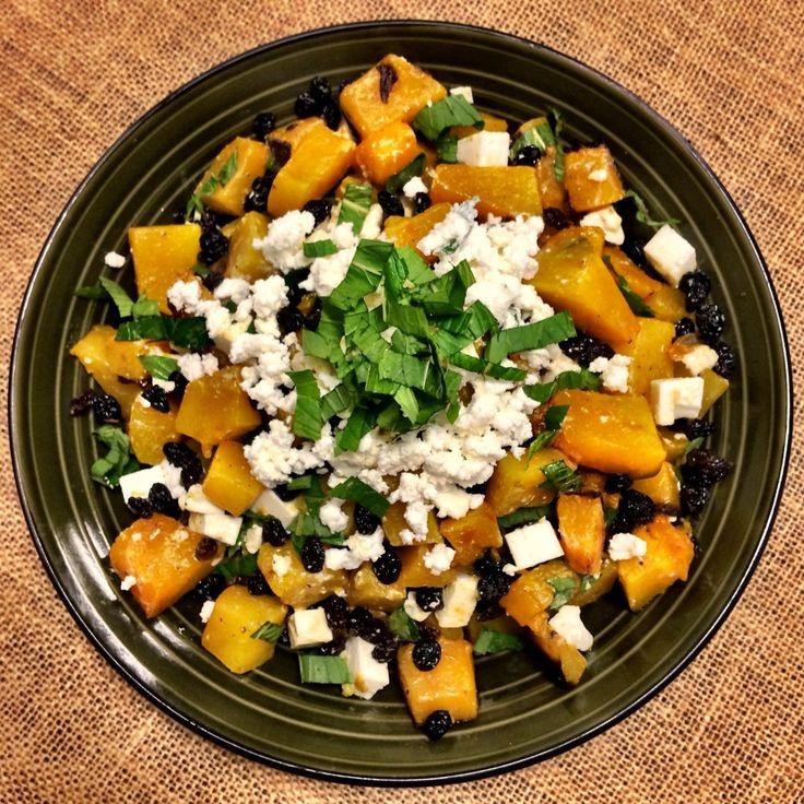 Roast Pumpkin Salad with Mint, Feta and Currants - Shine Dining
