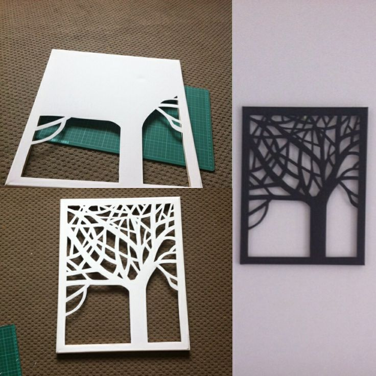 Today I drew a tree on the back of a canvas, and then cut it out with a knife and a cutting board. Although the white looked fabulous I wanted it black so gave it a quick spray paint and voila! Very simple, effective and quick DIY project!