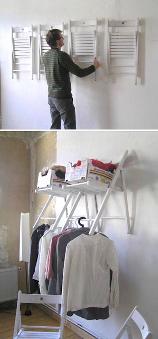 20 Unusual Furniture Hacks | Hanging chairs used for closet storage.