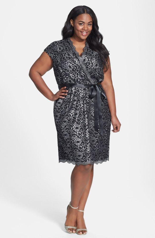 Alex Evenings Silver Belted Metallic Lace Dress Black Size 18W #AlexEvenings #Cocktail