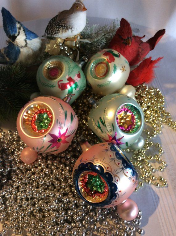Only 2 Left Jumbo Size Mid Century Christmas Tree Glass Ornaments Poland Antique Christmas Ornaments Glass Christmas Tree Ornaments Vintage Christmas Ornaments