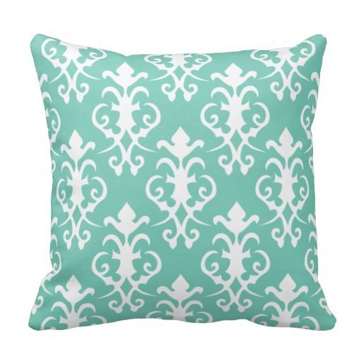 Decorative Turquoise Damask Pillow Damasks, Turquoise and Turquoise throw pillows