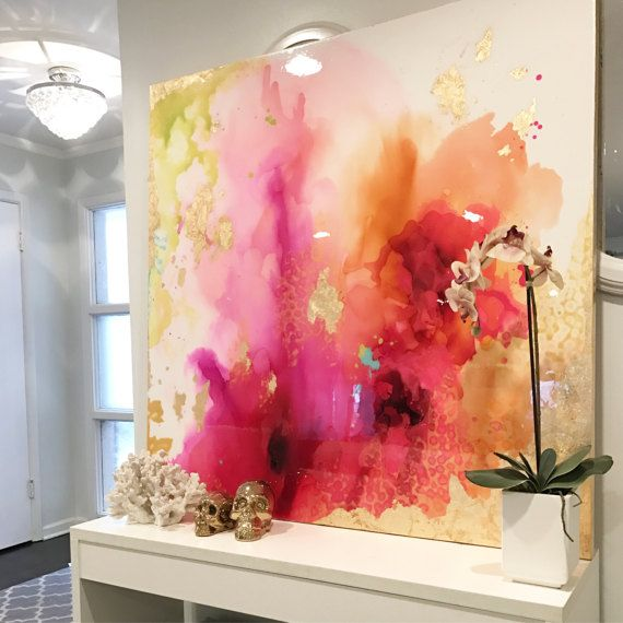 "SOLD! Abstract Art Large Canvas Painting , White, fuschia, orange, chartreuse, gold Ikat Ombre and Resin Coat 48"" x 48"" real gold leaf"