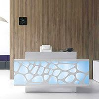 Reception counter with opaque front