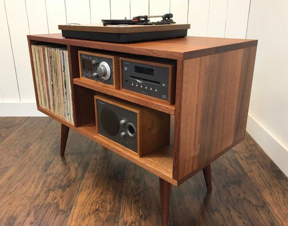 Quick Build Solid Mahogany Turntable Cabinet With Album Storage Mid Century Modern Record Player Console Wi Vinyl Storage Record Player Console Stereo Cabinet