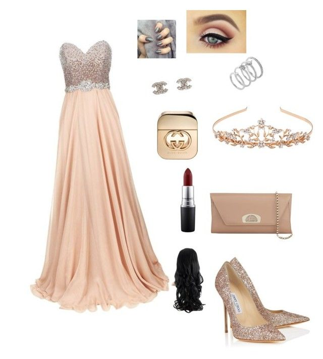 """""""Untitled #4"""" by maah200802 on Polyvore featuring Jovani, Jimmy Choo, Christian Louboutin, Monsoon, Chanel, Vince Camuto, MAC Cosmetics and Gucci"""