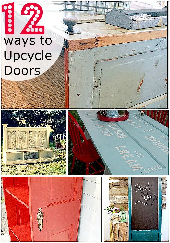 12 ways to upcycle old doors. My favorites are the dining room door table and the cabinet art table. I'm trying out both ideas!