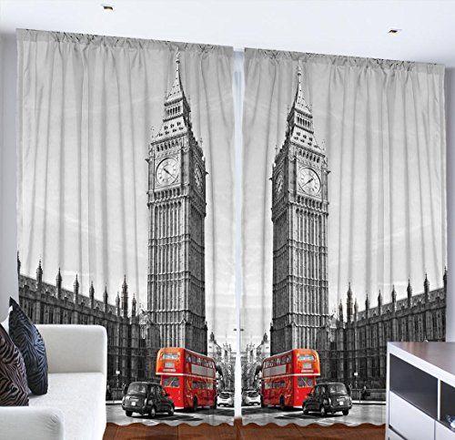 European Cityscape London Decor Big Ben Elizabeth Clock T..