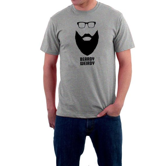 #Long #Beardy #Weirdy Hipster Long Beard T-shirt Moustache & Glasses . Funny Cotton Tee.  Seems that facial hair is the In-Thing at the moment. You can't watch a TV ad without... #moustache #glasses #fashion #hair #fuzz #funny #cotton #hipster #t-shirt