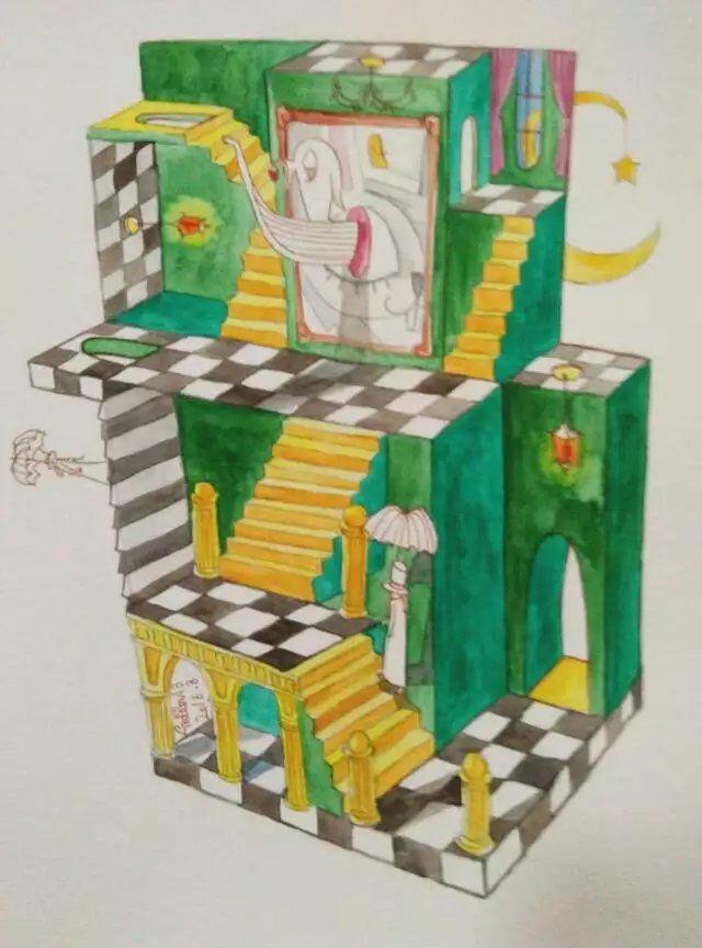 Visual error   Ferryman   Mr. Rabbit's house   watercolor