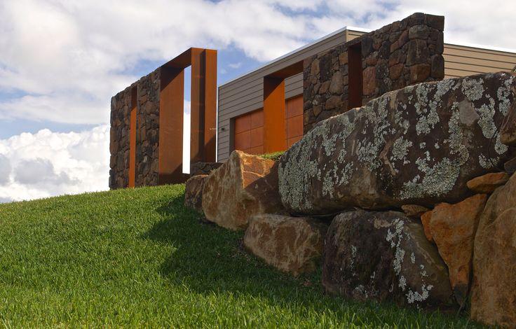Rock Walls I designed for a hilltop house near Byron