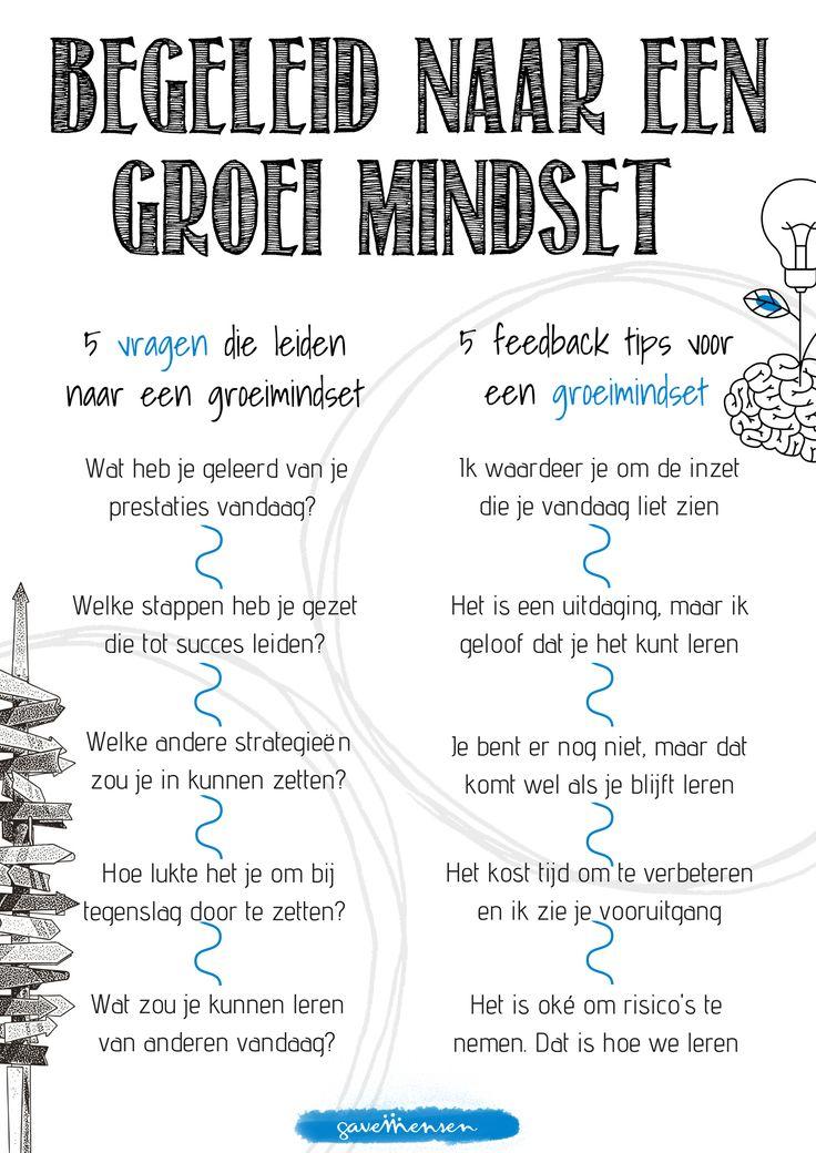 Vragen en feedback groeimindset poster. Deze is gratis te downloaden via de gratis content academie van GaveMensen: http://gavemensen.nl/gratis-content/