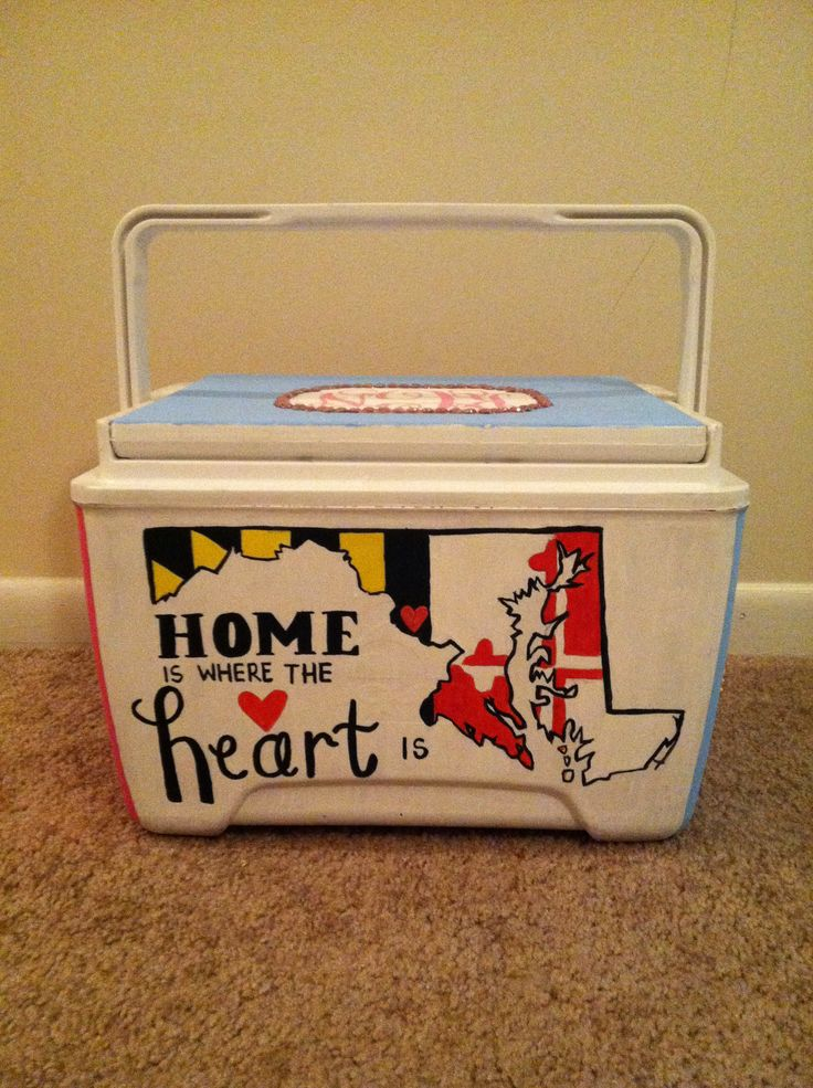 Maryland flag home is where the heart is - cooler side  Painted myself - Crafts By Coffey